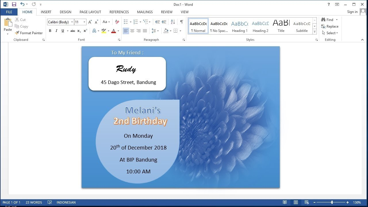 Belajar Microsoft Word 2013 Cara Membuat Kartu Undangan Ulang Tahun Birthday Invitation Card