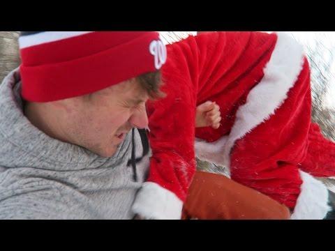 Creepy Santa Attacks and Tackles Me in the Woods!