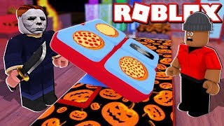 'NOUVEAU' WORK At A PIZZA PLACE!! - Halloween Roblox