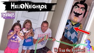 Hello Neighbor in Real Life! Fingerling Minis & Plush Toy Scavenger Hunt! We Caught Him in a Trap!!!