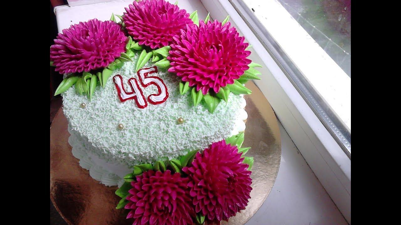 Торт с хризантемами из мастики фото