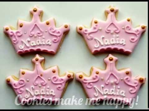 How To Decorate A Princess Tiara Cookie Youtube