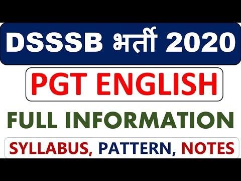 DSSSB PGT ENGLISH भर्ती 2020 FULL INFORMATION, #AGE, #ELIGIBILITY, #MARKS, #SYLLABUS, #NOTES,