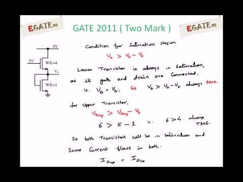 Problem on MOSFET - GATE 2011 Solved paper (Electron Devices) - (www.egate.ws)