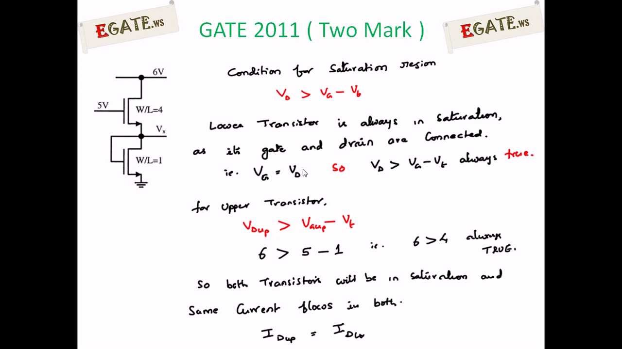 Problem On Mosfet Gate 2011 Solved Paper Electron Devices Www Circuits And Components Transistors Transistor As A Current Egatews Youtube