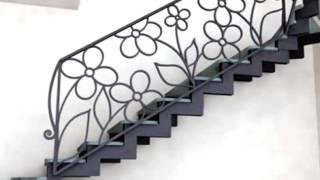 видео Варианты ограждений лестниц из металла