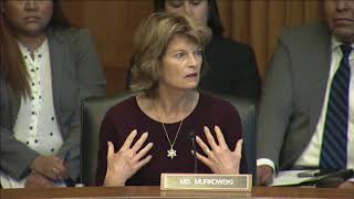 U.s. senator lisa murkowski (r-ak) discusses her legislation, savanna's act and the not invisible act, during a senate indian affairs committee business meet...