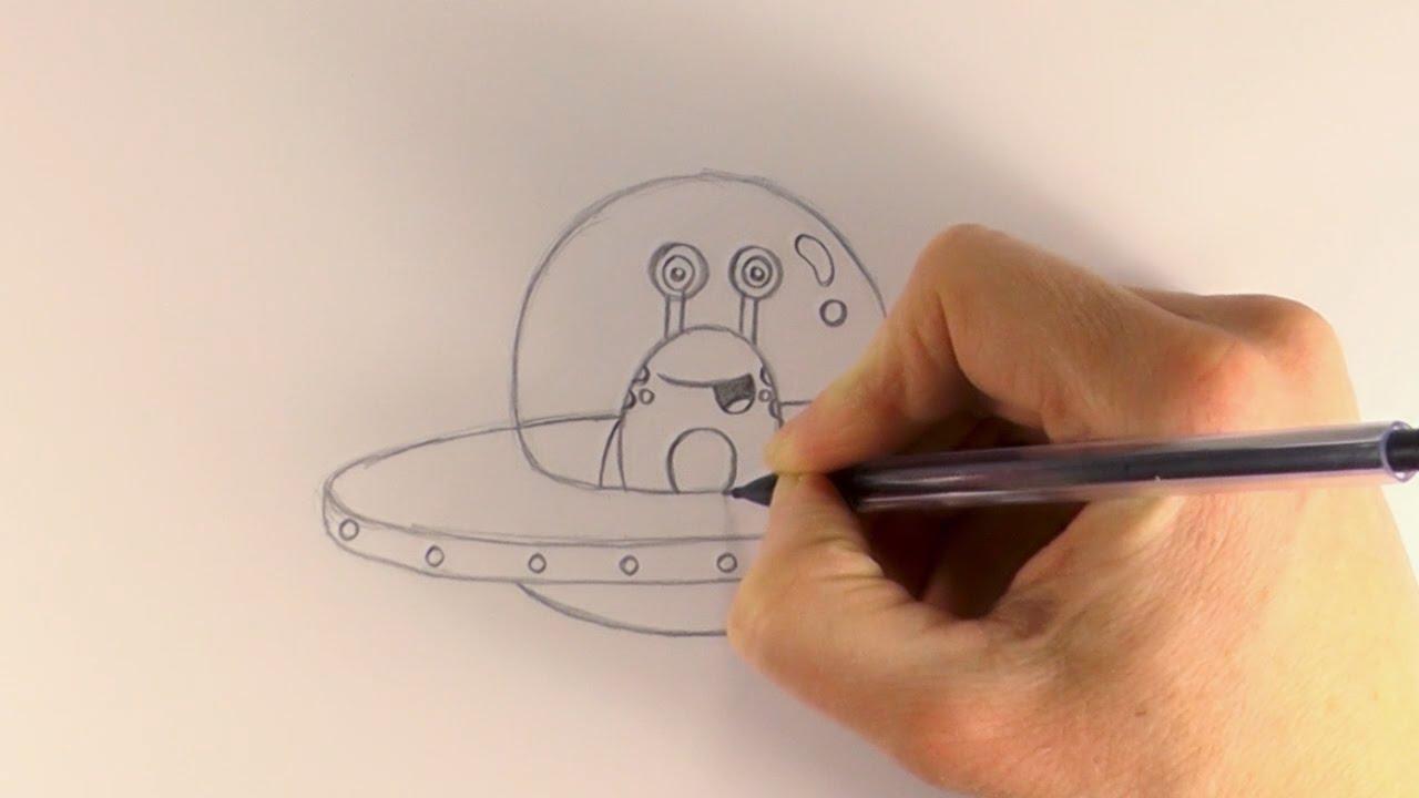 R e a p how to draw a cartoon alien in a ufo youtube