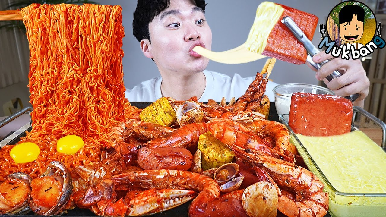ASMR MUKBANG 해물찜 & 치즈 통스팸 FIRE Noodle & Spicy Seafood Boil & CHEESE SPAM EATING SOUND!