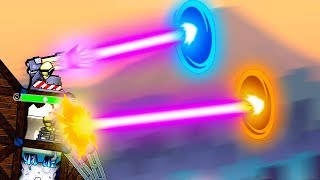 Firing Lasers Through Portals Ends as Expected in Forts Moonshot!
