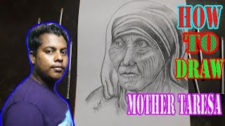 how to draw Mother Teresa step by step | Rong-Bahar Art |