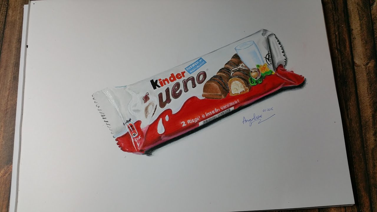Uncategorized How To Draw Candy Bars drawing a kinder bueno chocolate bar hyperrealistic art youtube