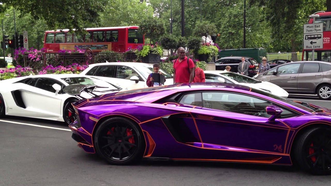 Crazy Purple Lamborghini Aventador Very Loud Start Up