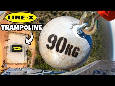 ATLAS STONE Vs. LINE-X TRAMPOLINE from 45m!