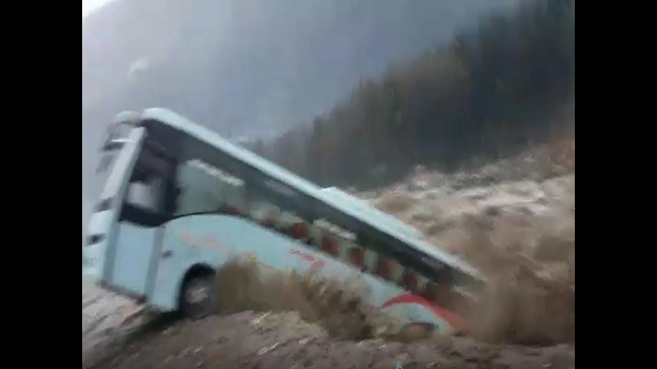 Watch: Swollen Beas river sweeps away Luxury bus in Manali