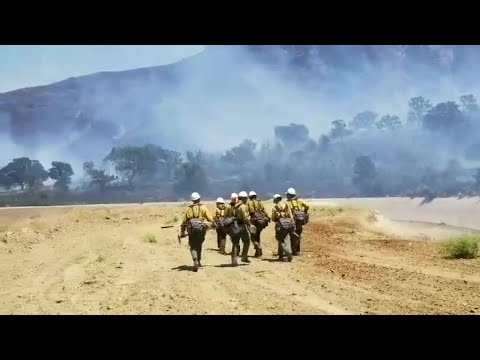 Kern County fire fighters working 100 acre fire in Bodfish