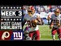 Redskins vs. Giants | NFL Week 3 Game Highlights
