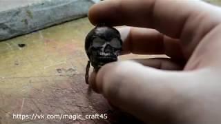 Брелок череп из гипса   Plaster Skull Keychain