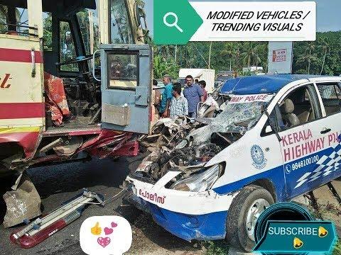 KSRTC accident with Kerala  highway police at kottarakara