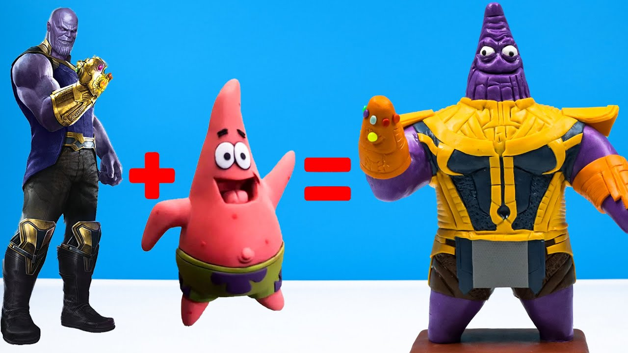 Making Superheroes Thanos Mod Patrick Star with clay 🧟 Superheroes Marvel 🧟Polymer Clay Tutorial