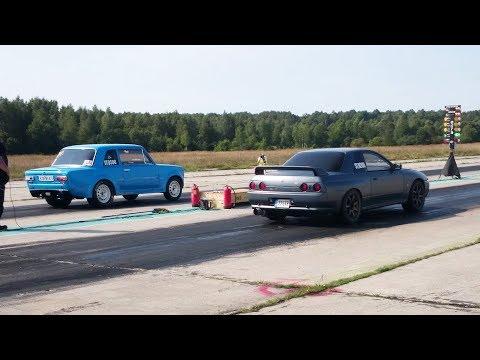 VAZ 2101 Coupe 4G63T vs Nissan Skyline GT-R R32 RB30DET 1/4 mile drag race
