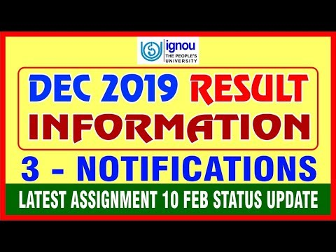 Dec 2019 Results information & 3 Notifications | Assignment Submission Status UPDATE By STUDY ZONE from YouTube · Duration:  4 minutes 56 seconds