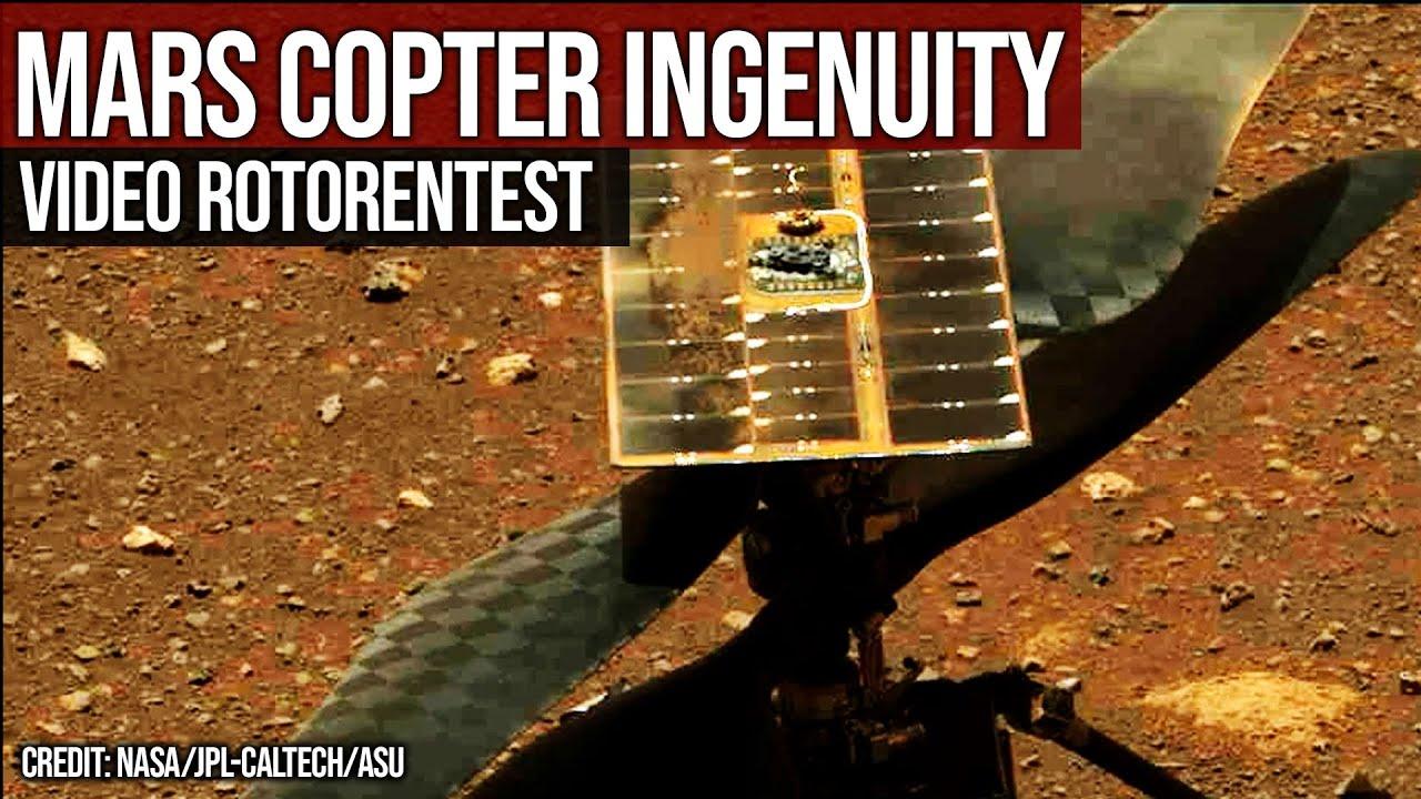 Mars Copter Ingenuity - Video Mast Cam Rotorentest - Start 18.04.2021