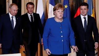 Прес-конференція Зеленського, Меркель, Путіна і Макрона