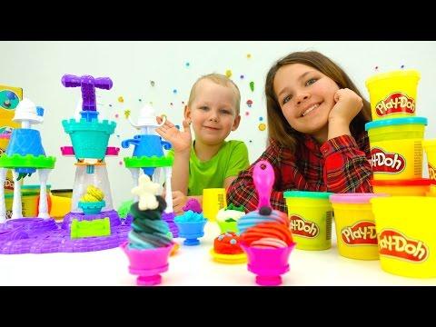 Развивающие игры для детей ПЛЕЙ ДО. Набор Play Doh Замок мороженого, Настя и Вова!