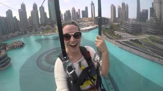 Zip lining over the fountains in Dubai