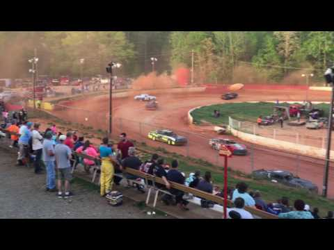 """Carl """"Mailman"""" Maree #2 Renegade Car-April 15, 2017-East Lincoln Speedway-Heat Race 2nd Place Finish"""