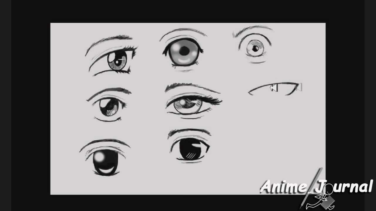 Tutorial How To Draw Cute Anime Eyes 9 Ways Hd 720 Youtube