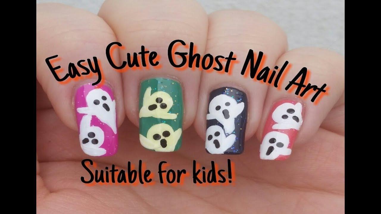 Easy Cute Ghost Nail Art | Beginners Nail Design | Stephyclaws - Easy Cute Ghost Nail Art Beginners Nail Design Stephyclaws - YouTube