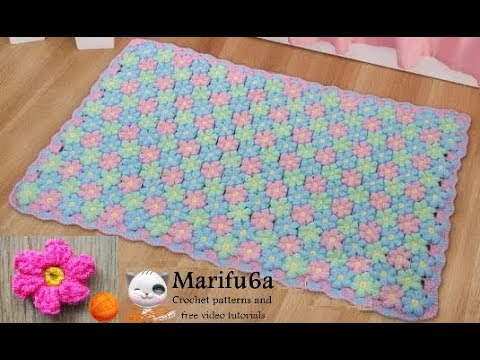 How To Crochet Puff Flower Rug Afghan Blanket Free Easy Pattern Tutorial For Beginner