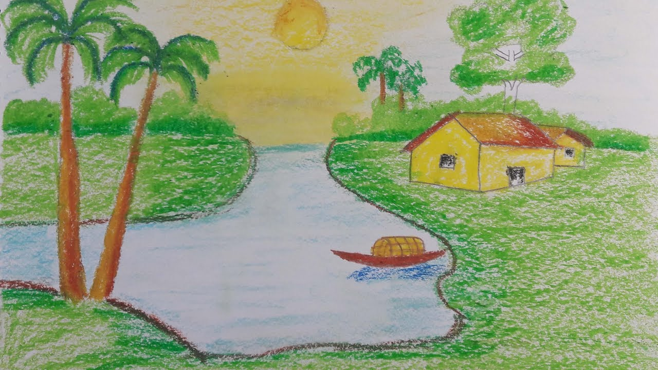 How To Draw A Village Scenery With Oil Pastel Step By Very Easy