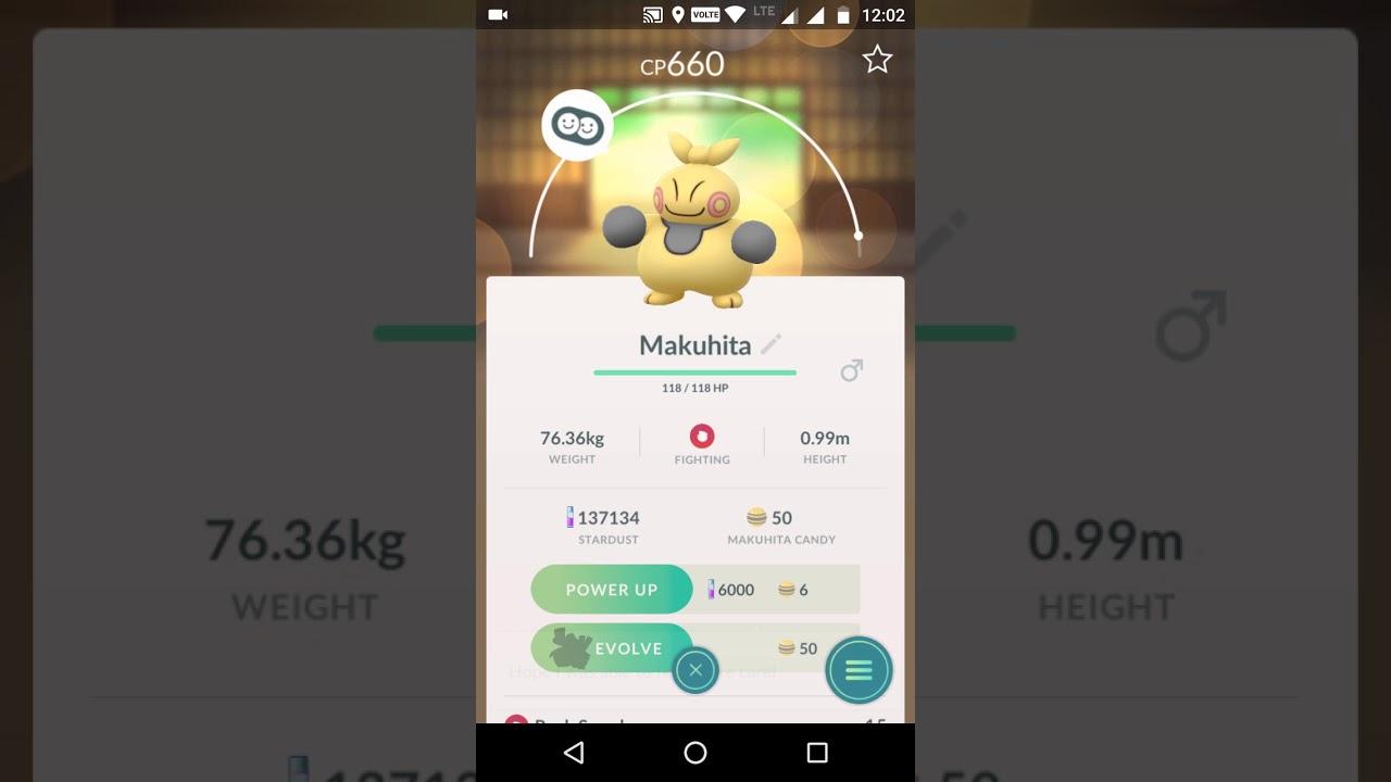 Makuhita max CP for all levels - Pokemon Go
