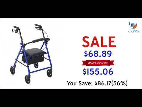 Drive Medical Rollator with 6 inches Wheels, Black