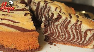 ZEBRA CAKE-CHOCOLATE VANILLA CAKE-HOW TO MAKE ZEBRA CAKE BY HAFSA