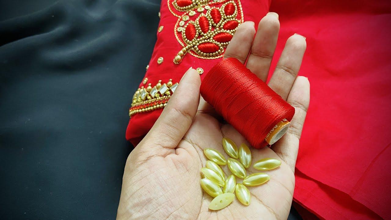Simple and elegant aari embroidery sleeve design for wedding | Aari work for beginners