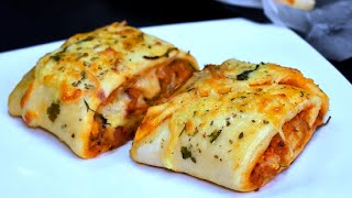 Pizza Parcel Without Oven Recipe - Pizza Squares Recipe - Chicken Cheese Parcel by Lively Cooking