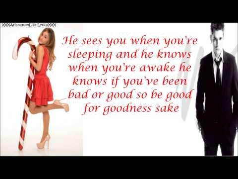 Michael Bublé & Ariana Grande LYRICS - Santa Claus Is Coming To Town