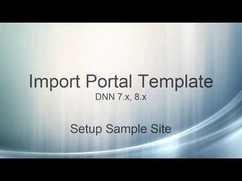 Import Portal Template in DNN 7.x and 8.x