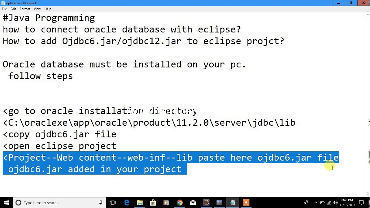 How to add Ojdbc6 jar/ojdbc12 jar to eclipse projct? Oracle Database to  java eclipse connectivity