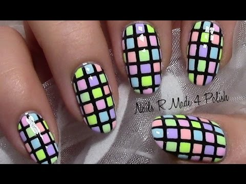 chequered nails / colorful pastel summer nail art design