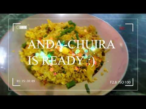 ANDA-CHIURA/FRIED EGG-BEATEN RICE RECIPE/अण्डा चिउरा
