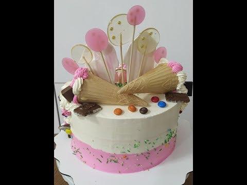 Как украсить торт.Розовый торт для девочки.Без мастичное покрытие торта..Юлия Клочкова.
