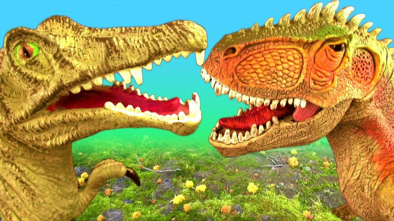 Dinosaur Fight Battle SPINOSAURUS vs GIGANOTOSAURUS T rex ...Giganotosaurus Vs Spinosaurus