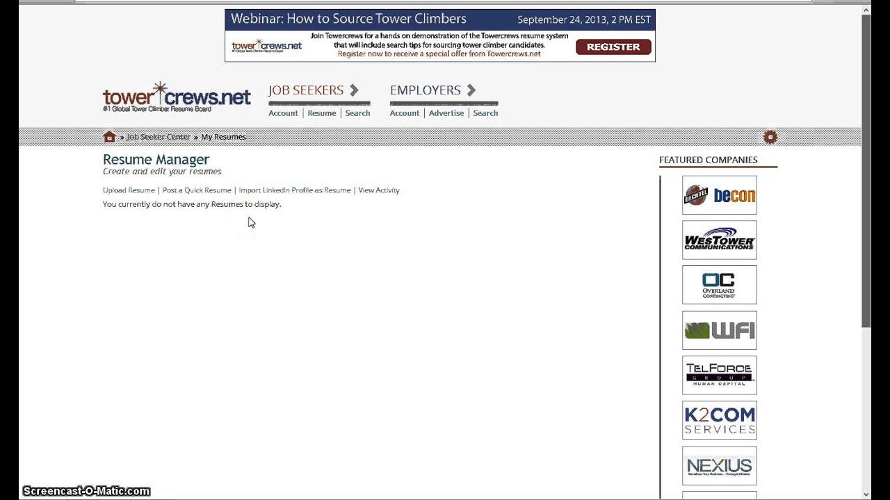TowerCrews Net - Inporting a LinkedIN Profile Resume