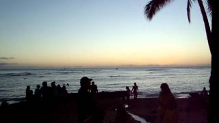 The sunset at Waikiki beach Honolulu,Hawaii on 31 DEC 2011