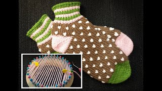 Loom Knit Kitchener Cast On and German Short Rows; The Alexis Slipper Sock toe from start to finish